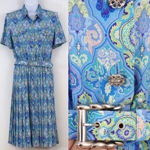 Vintage Leslie Fay midi dress pleat skirt Sz 10 P